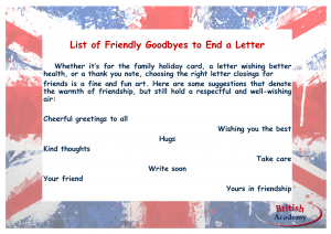 friendly goodbyes to end a letter