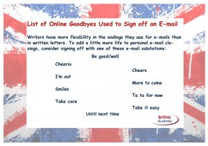 list of online goodbyes used to sign off an e-mail