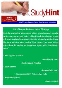 list of proper business letter closings